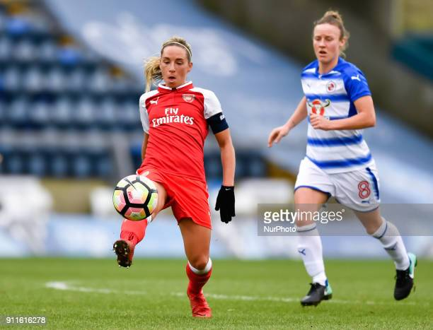 Jordan Nobbs of Arsenal battles for possession with Remi Allen of Reading FC Women during Women's Super League 1 match between Reading FC Women...