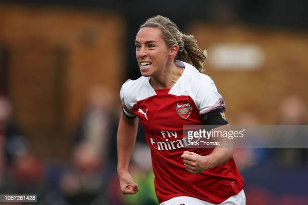 Jordan Nobbs of Arsenal celebrates after scoring her sides first goal during the WSL match between Arsenal Women and Birmingham Ladies at Meadow Park...