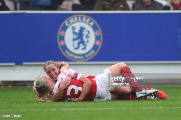 Jordan Nobbs of Arsenal celebrates after scoring her teams fifth goal with Beth Mead of Arsenal during the FA WSL match between Chelsea Women and...