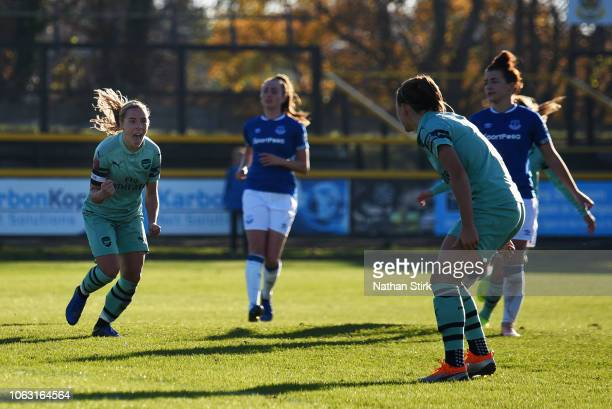 Jordan Nobbs of Arsenal celebrates after scoring her team's second goal during the FA WSL match between Everton Ladies and Arsenal Women on November...