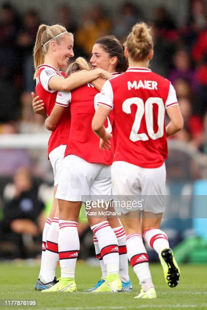Jordan Nobbs of Arsenal celebrates scoring her side's fourth goal with team mates during the Barclays FA Women's Super League match between Arsenal...