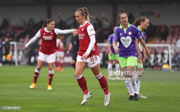 Jordan Nobbs of Arsenal FC celebrates after scoring her sides first goal during the Barclays FA Women's Super League match between Arsenal and...