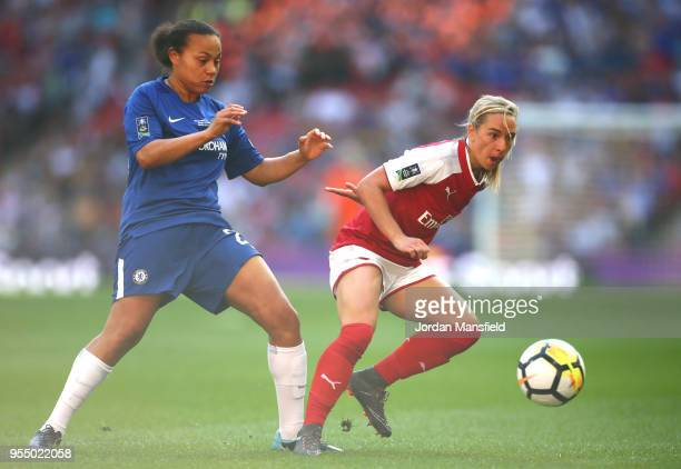 Jordan Nobbs of Arsenal holds off pressure from Drew Spence of Chelsea during the SSE Women's FA Cup Final match between Arsenal Women and Chelsea...