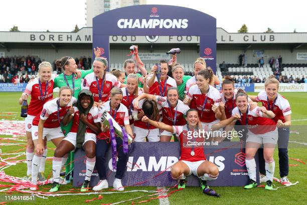 Jordan Nobbs of Arsenal holds the trophy as Arsenal celebrate winning Women's Super League after the WSL match between Arsenal Women and Manchester...