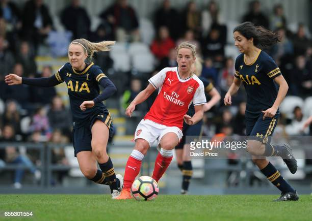 Jordan Nobbs of Arsenal is closed down by Josie Green and Mayo Vio of Tottenham during the match between Arsenal Ladies and Tottenham Hotspur Ladies...
