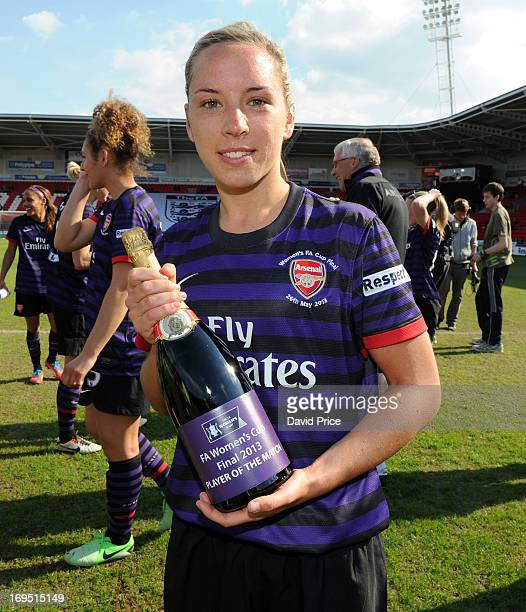 Jordan Nobbs of Arsenal Ladies poses with her Woman of the Match Champange award after the The FA Women's Cup Final between Bristol Academy Women's...