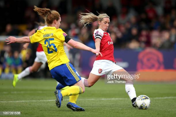 Jordan Nobbs of Arsenal scores her sides first goal during the WSL match between Arsenal Women and Birmingham Ladies at Meadow Park on November 4...