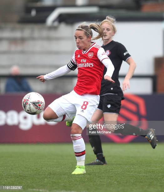 Jordan Nobbs of Arsenal scores her sides seventh goal during the Barclays FA Women's Super League match between Arsenal and Bristol City at Meadow...