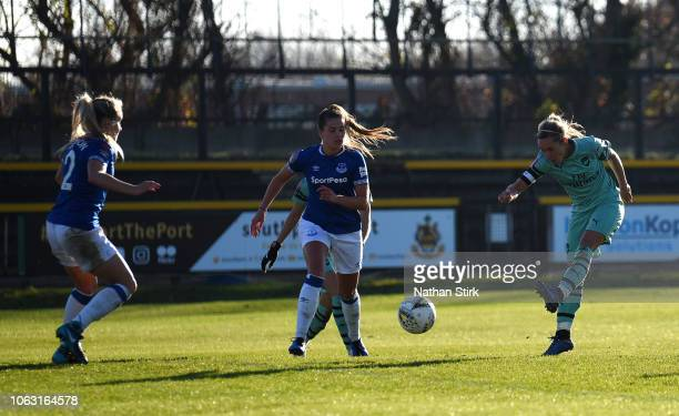 Jordan Nobbs of Arsenal scores her team's second goal during the FA WSL match between Everton Ladies and Arsenal Women on November 18 2018 in...