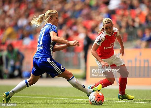 Jordan Nobbs of Arsenal skips past the challenge of Katie Chapman of Chelsea during the SSE Women's FA Cup Final between Arsenal Ladies and Chelsea...