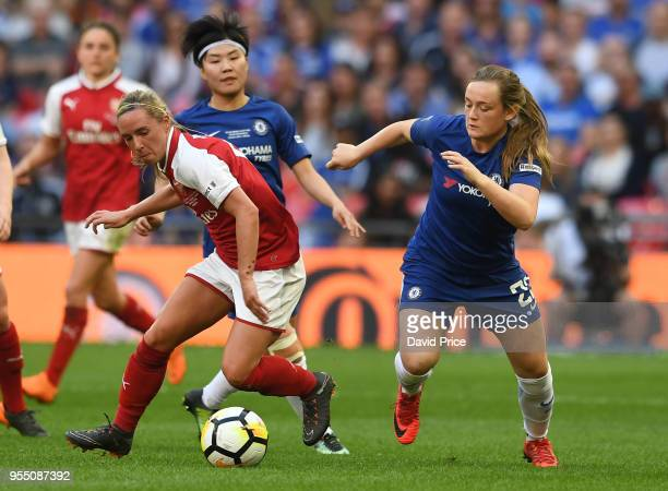 Jordan Nobbs of Arsenal takes on Erin Cuthbert of Chelsea during the match between Arsenal Women and Chelsea Ladies at Wembley Stadium on May 5 2018...