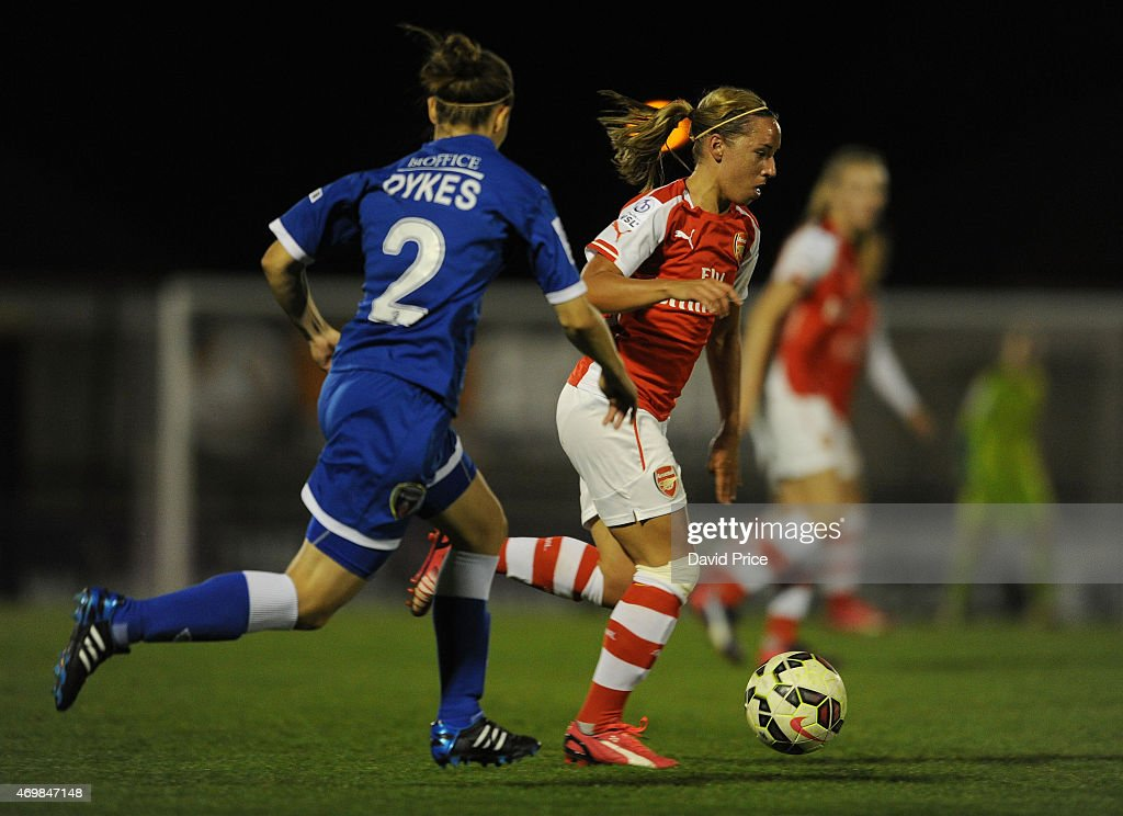 Jordan Nobbs of Arsenal takes on Loren Dykes of Bristol during the WSL match between Arsenal Ladies and Bristol Academy at Meadow Park on April 15, 2015 in Borehamwood, England.