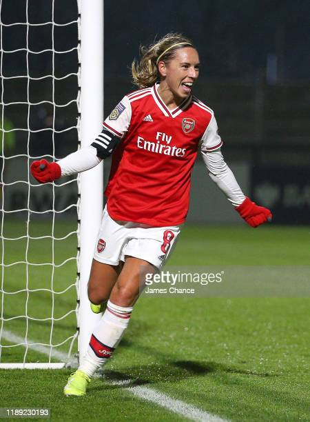Jordan Nobbs of Arsenal Women celebrates after scoring her sides sixth goal during the FA Women's Continental League Cup game between Arsenal Women...