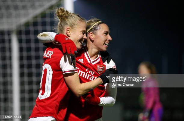 Jordan Nobbs of Arsenal Women celebrates with Leonie Maier after scoring her sides sixth goal during the FA Women's Continental League Cup game...