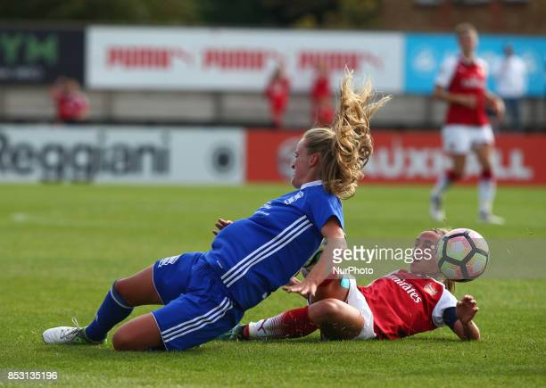 Jordan Nobbs of Arsenal Women tackles Marisa Ewers of Birmingham City LFCduring Women's Super League 1 match between Arsenal Women FC against...