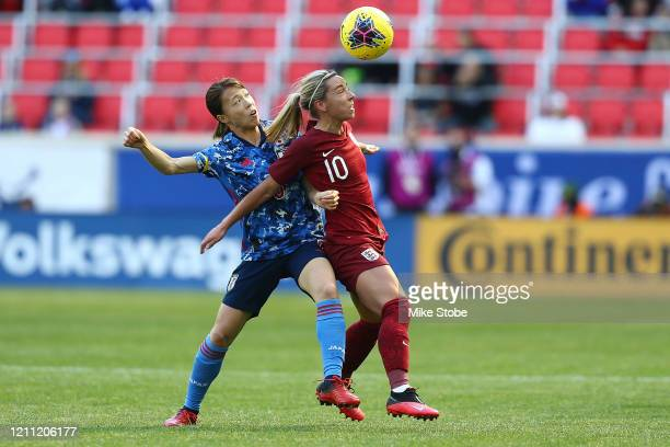 Jordan Nobbs of England and Millie Bright of England vie for the ball at Red Bull Arena on March 08 2020 in Harrison New Jersey