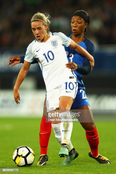 Jordan Nobbs of England battles for the ball with Onema Grace Geyoro of France during the International friendly match between France and England...