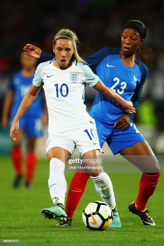 Jordan Nobbs of England battles for the ball with Onema Grace Geyoro of France during the International friendly match between France and Women held at Stade du Hainaut on October 20, 2017 in Valenciennes, France.