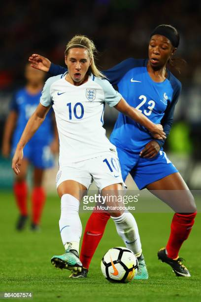 Jordan Nobbs of England battles for the ball with Onema Grace Geyoro of France during the International friendly match between France and Women held...