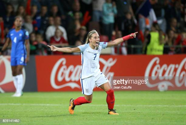 Jordan Nobbs of England celebrates the victory following the UEFA Women's Euro 2017 quarter final match between England and France at Stadion De...