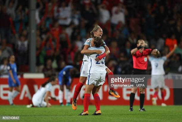 Jordan Nobbs of England celebrates their victory with Francesca Kirby of England during the UEFA Women's Euro 2017 Quarter Final match between...
