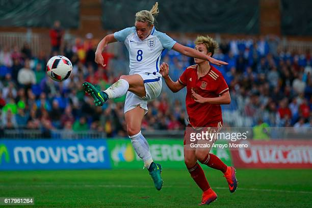 Jordan Nobbs of England strikes the ball ahead Amanda Sampedro of Spain during the International Friendly match between Spain and England Women...