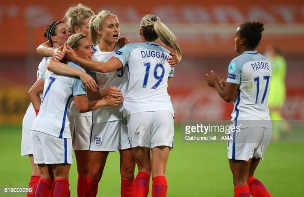 Jordan Nobbs of England Women celebrates after scoring to make it 50 with Steph Houghton and Toni Duggan of England Women during the UEFA Women's...