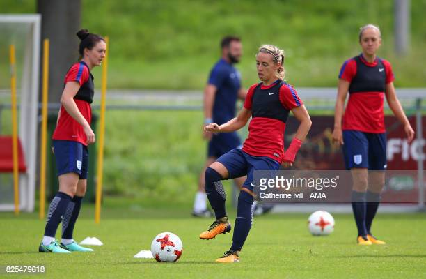 Jordan Nobbs of England Women warms up with Jade Moore and Jo Potter watching during the England Training Session on August 2 2017 in Utrecht...