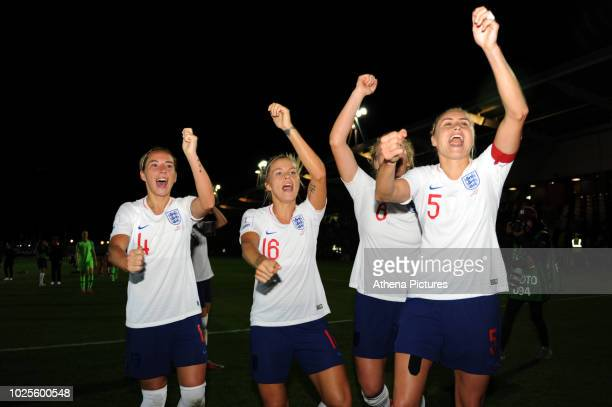 Jordan Nobbs Rachel Daly Millie Bright and Steph Houghton of England Women celebrate at full time during the FIFA Women's World Cup Qualifier match...