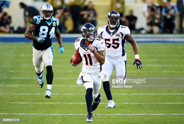 Jordan Norwood of the Denver Broncos returns a punt against the Carolina Panthers in the second quarter during Super Bowl 50 at Levi's Stadium on...