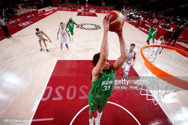 Jordan Nwora of Team Nigeria dunks against Italy during the second half of a Men's Basketball Preliminary Round Group B game on day eight of the...