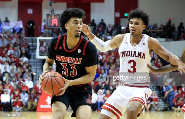 Jordan Nwora of the Indiana Hoosiers dribbles the ball against the Louisville Cardinals at Assembly Hall on December 8 2018 in Bloomington Indiana