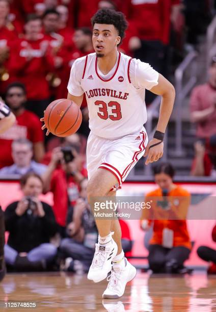 Jordan Nwora of the Louisville Cardinals brings the ball up court during the game against the Clemson Tigers at KFC YUM Center on February 16 2019 in...