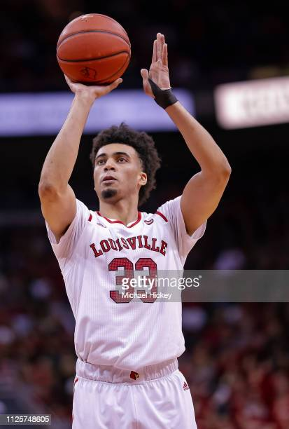 Jordan Nwora of the Louisville Cardinals shoots a free throw during the game against the Clemson Tigers at KFC YUM Center on February 16 2019 in...