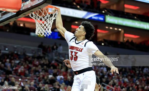Jordan Nwora of the Louisville Cardinals shoots the ball against the Southern Jaguars at KFC YUM Center on November 13 2018 in Louisville Kentucky