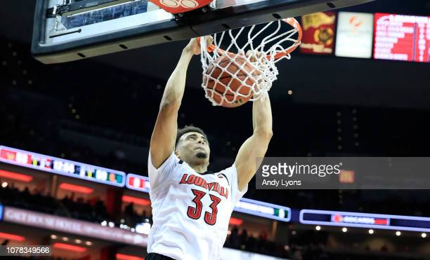 Jordan Nwora of the Louisville Cardinals shoots the ball against the Miami Hurricanes at KFC YUM Center on January 6 2019 in Louisville Kentucky