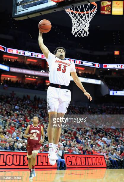 Jordan Nwora of the Louisville Cardinals shoots the ball against the Boston College Eagles at KFC YUM Center on January 16 2019 in Louisville Kentucky