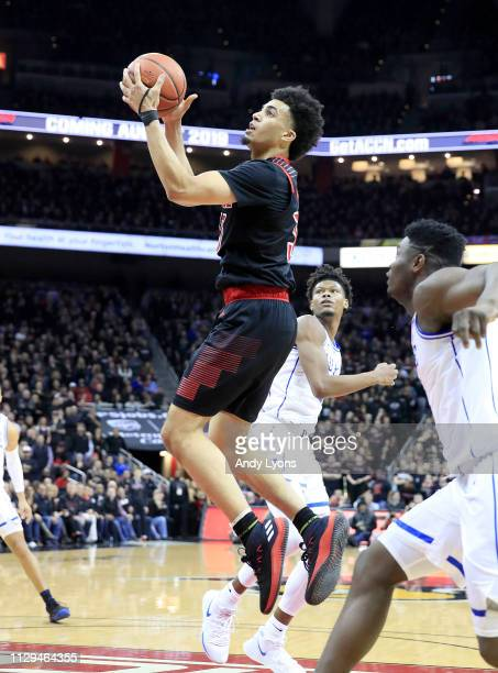Jordan Nwora of the Louisville Cardinals shoots the ball against the Duke Blue Devils at KFC YUM Center on February 12 2019 in Louisville Kentucky