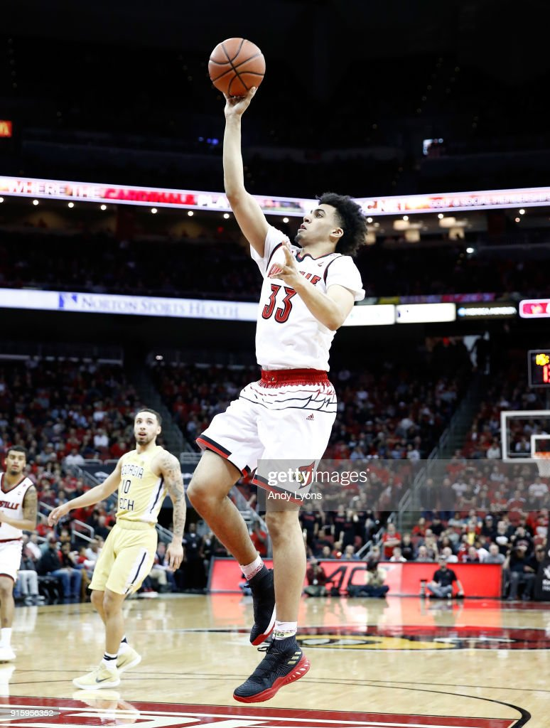 Jordan Nwora #33 of the Louisville Cardinals shoots the ball against the Georgia Tech Yellow Jackets during the game at KFC YUM! Center on February 8, 2018 in Louisville, Kentucky.