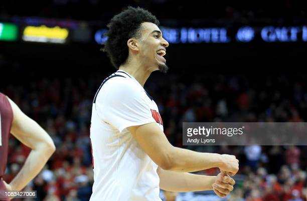 Jordan Nwora the Louisville Cardinals celebrates during the 8070 win against the Boston College Eagles at KFC YUM Center on January 16 2019 in...