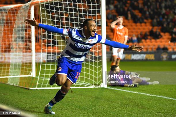 Jordan Obita of Reading celebrates after scoring his team's second goal during the FA Cup Third Round Replay match between Blackpool and Reading at...