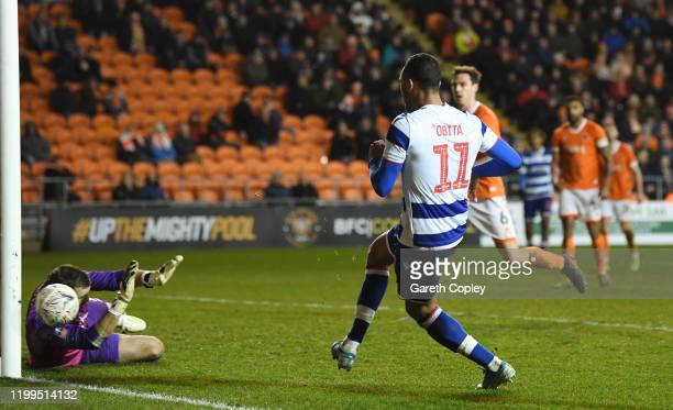 Jordan Obita of Reading scores his team's second goal during the FA Cup Third Round Replay match between Blackpool and Reading at Bloomfield Road on...