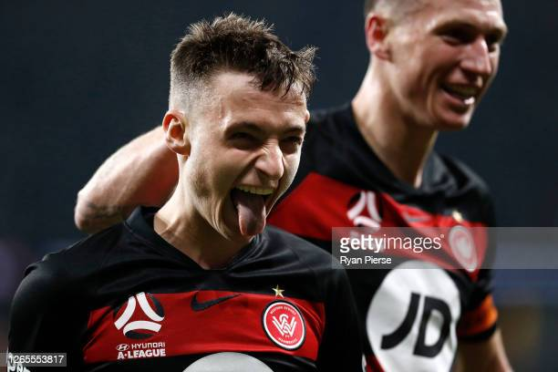 Jordan O'Doherty of the Wanderers celebrates after scoring his teams second goal during the round 24 A-League match between the Western Sydney...