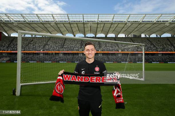 Jordan O'Doherty of the Wanderers poses during a Western Sydney Wanderers A-League media opportunity at Bankwest Stadium on April 11, 2019 in Sydney,...