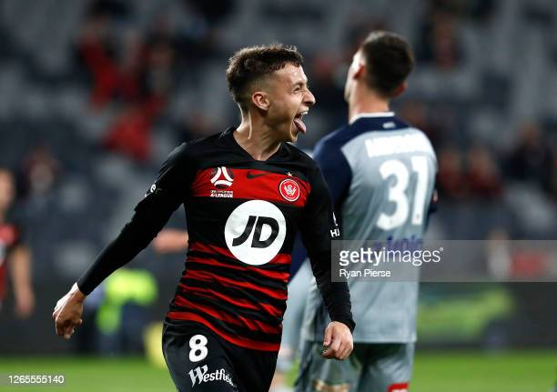 Jordan O'Doherty of the Wanderers scores his teams second goal during the round 24 A-League match between the Western Sydney Wanderers and the...