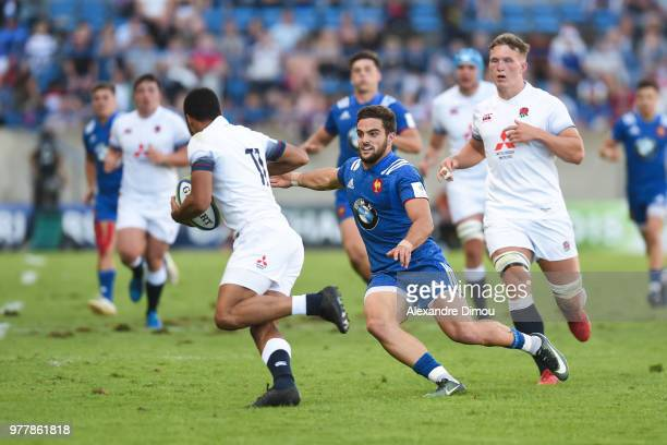 Jordan Olowofea of England and Lucas Tauzin of France during the Final World Championship U20 match between England and France on June 17 2018 in...