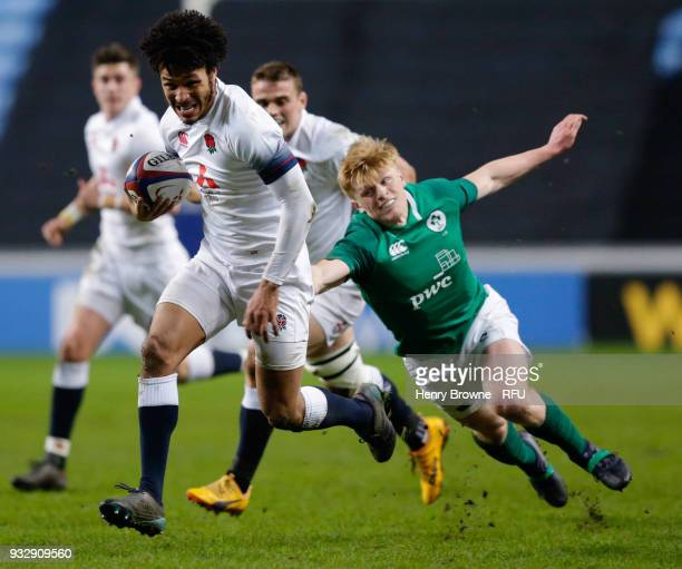 Jordan Olowofela of England goes past Tommy O'Brien of Ireland during the Natwest Under 20's Six Nations match between England U20 and Ireland U20 at...