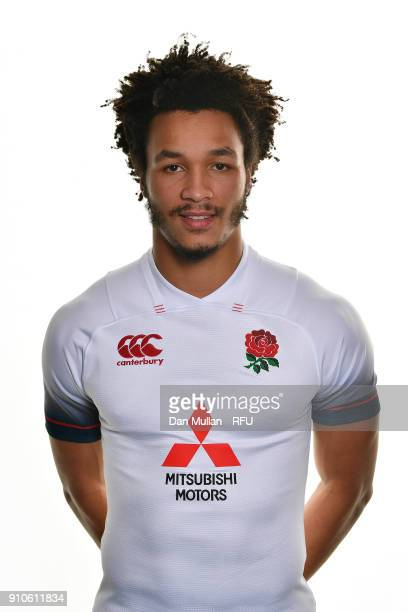 Jordan Olowofela of England poses for a portrait during the England U20 Squad Photo call at Bisham Abbey on January 10 2018 in Marlow England