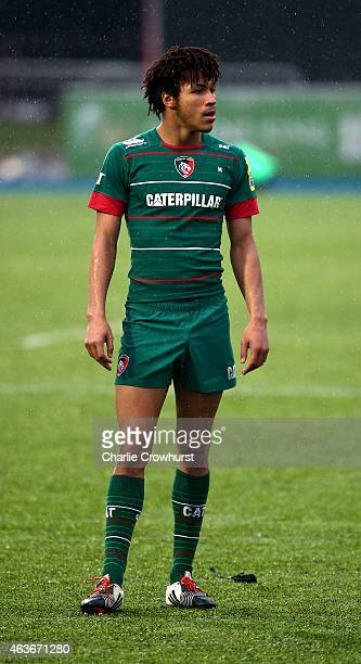 Jordan Olowofela of Leicester during the Premiership Rugby/RFU U18 Academy Finals Day match between Leicester and Bath at The Allianz Park on...