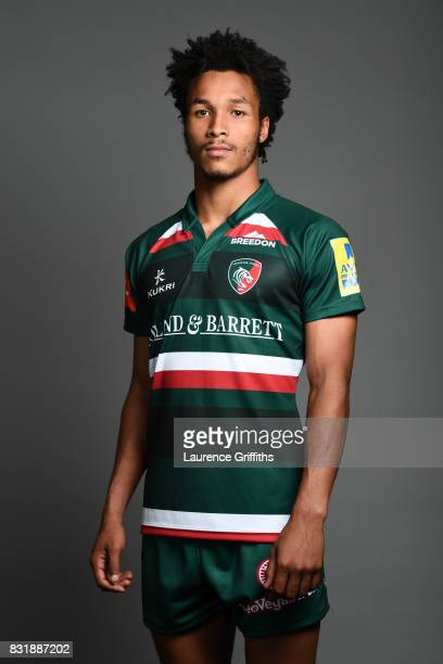 Jordan Olowofela of Leicester Tigers poses for a portrait during the squad photo call for the 20172018 Aviva Premiership Rugby season at Welford Road...
